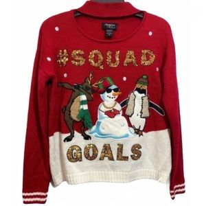Hooked Up by IOT Pinguin Snowman Pullover Sweater